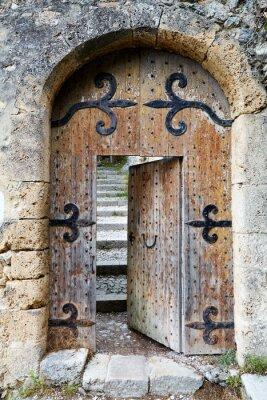 Fototapeta Ajar old wooden door