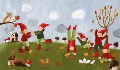 Fototapeta Akryl ilustracją słodkie dzieci - taniec karły w fa