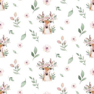 Fototapeta Akwarela Bezszwowa ręka ilustrowana kwiatowy wzór kwiatowy liść, różowe kwiaty i młode jelenie. Akwarela boho wiosna tapeta botaniczny tło włókienniczych
