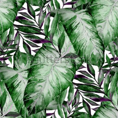 Fototapeta Akwarela bezszwowe wzór z tropikalny liści: palmy, monstera, marakuja. Piękny nadruk allover z ręcznie rysowanymi egzotycznymi roślinami. Projektowanie botaniczne strojów kąpielowych.