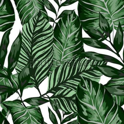 Fototapeta Akwarela bezszwowe wzór z tropikalnych liści: palmy, monstera, marakuja. Piękny nadruk z ręcznie rysowanymi egzotycznymi roślinami. Projekt botaniczny stroje kąpielowe. Wektor.