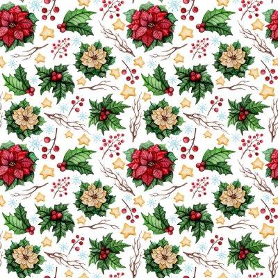 Fototapeta Akwarela Boże Narodzenie bez szwu z poinsecja, Gwiazdy i Holly