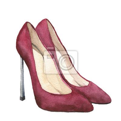 df34bc5a08329 Fototapeta Akwarela czerwone zamszowe buty na wysokim obcasie. Stiletto buty  wyizolowanych na białym tle.
