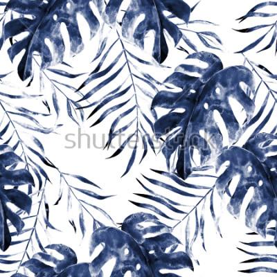 Fototapeta Akwarela egzotyczny bezszwowy wzór, zieleni tropikalni liście, botaniczna lato ilustracja na białym tle