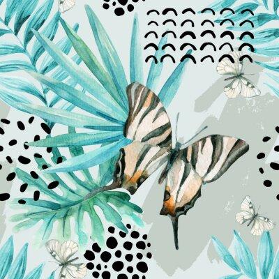 Fototapeta Akwarela graficzny ilustracji: egzotyczny motyl, liści tropikalnych, elementów doodle na tle grunge.