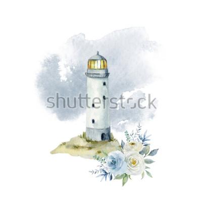 Fototapeta Akwarela ilustracja z latarnią morską, chmury i bukiet kwiatów