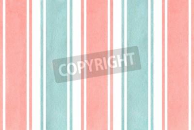 Fototapeta Akwarela jasny różowy i niebieski paski tle. Wzór geometryczny akwarela.