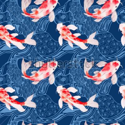 Fototapeta Akwarela koi ryba wzór tekstury z falami na tle