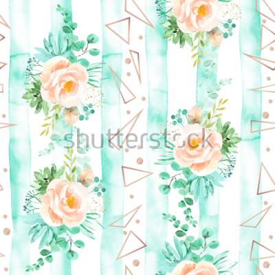 Fototapeta Akwarela kwiatowy wzór w miękkie kolory mięty różowy. Geometryczne tło z bukietami kwiatów. Róże, sukulenty, urlop eukaliptusowy, różowe złoto, ilustracja