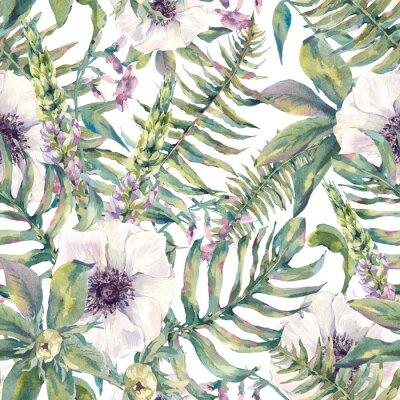 Fototapeta Akwarela liści szwu z paproci i kwiatów