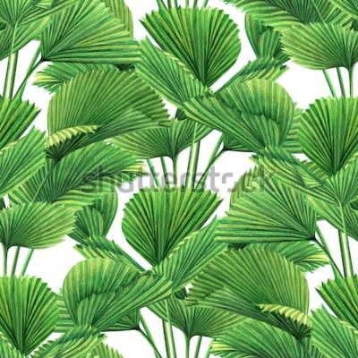 Fototapeta Akwarela malarstwo kokosowe, liść palmowy, zielone liście wzór tła. Akwarele ręcznie rysowane tropikalne egzotyczne liście drukuje tapety, tekstylne Hawaje Aloha dżungli stylu wzór.