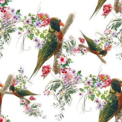 Fototapeta Akwarela malowanie ptaków i kwiatów, bezszwowych wzór na białym tle