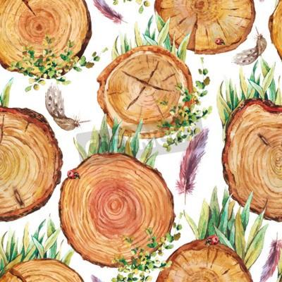 Fototapeta Akwarela naturalnego drewna bez szwu tła z pniaków, kawałki drewna, logi trawy piór ptaki biedronka, ekologia ilustracji