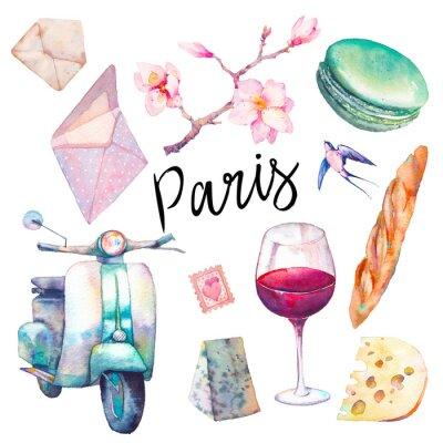 Fototapeta Akwarela Paris zestaw. Ręcznie rysowane elementy kultury francuskiej samodzielnie na białym tle: rocznika hulajnoga, macaron, sera, czerwone wino szkła, magnolia brach, bagietka.