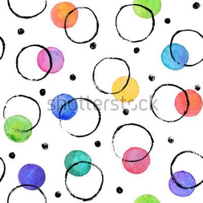 Fototapeta Akwarela tekstury. Aquarelle spoty z koła koła atramentu wyciągnij z suchym pędzlem. Obejmuje wzór. Akwarela wzór z kolorowymi kropkami i czarnymi okręgami połączonymi na białym tle.