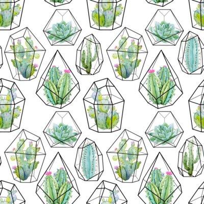 Fototapeta Akwarela wektor kaktus wzorca