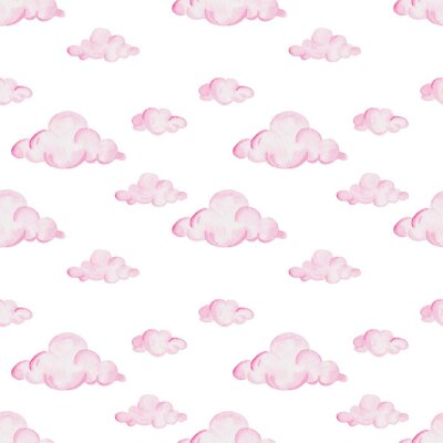 Fototapeta Akwarela wzór prysznic dla dzieci. Różowe chmury na białym tle. Do projektowania, drukowania lub tła