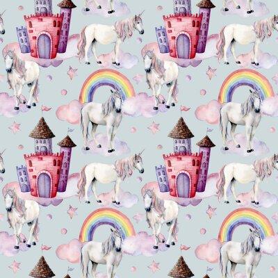 Fototapeta Akwarela wzór z jednorożce i wystrój bajki. Ręcznie malowane magiczne konie, zamek, tęcza, chmury, gwiazdy na białym tle. Słodkie tapety do projektowania, drukowania lub tła.