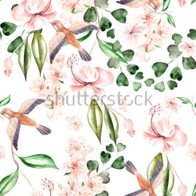 Fototapeta Akwarela wzór z wiosennych kwiatów, liści eukaliptusa i ptaków. Ilustracja