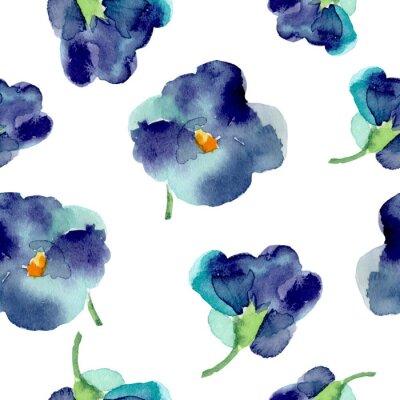 Fototapeta Akwarela z fioletowych kwiatów bez szwu.