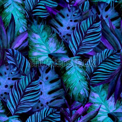 Fototapeta Akwarelowy wzór z tropikalnych liści: palmy, monstera, marakuja. Piękny nadruk allover z ręcznie rysowanymi egzotycznymi roślinami. Projektowanie botaniczne strojów kąpielowych.