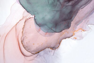 Fototapeta Alcohol ink sea texture. Contemporary art. Abstract art background. Multicolored bright texture. Fragment of artwork. Modern art. Inspired by the sky, as well as steam and smoke. Trendy wallpaper.