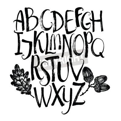 Fototapeta alfabet z liści dębu i żołędzi Brush