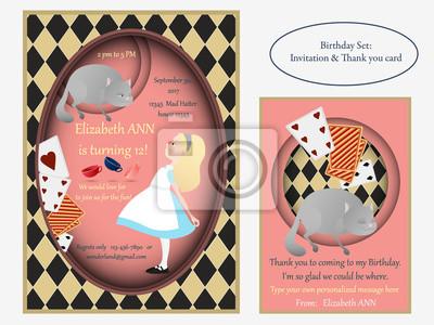 Alicja W Krainie Czarów Kot Z Cheshire Zaproszenie Na Urodziny