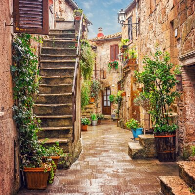 Fototapeta Alley in old town Pitigliano Tuscany Italy
