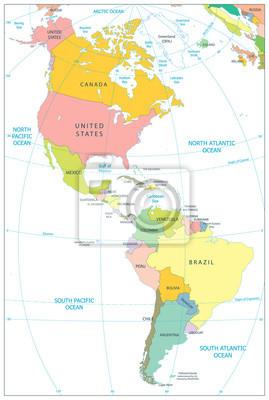 Ameryka Polnocna I Ameryka Poludniowa Mapa Polityczna Samodzielnie