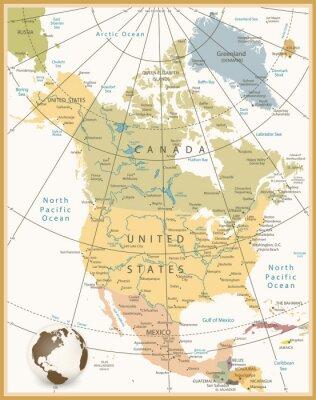 Fototapeta Ameryka Północna Szczegółowa mapa kolorach retro