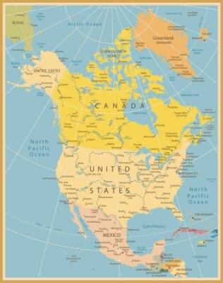 Fototapeta Ameryka Północna Szczegółowa mapa Vintage Kolory