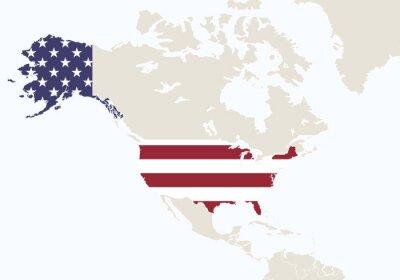Fototapeta Ameryka Północna z podświetlonych USA mapie.