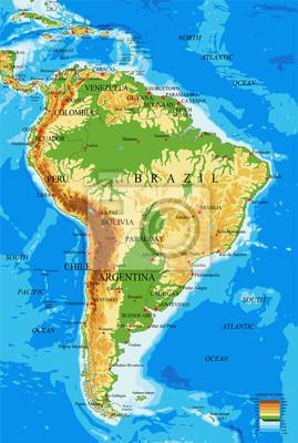Ameryka Poludniowa Mapa Fizyczna Fototapeta Fototapety Puerto