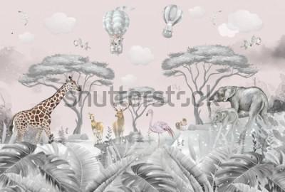 Fototapeta animals in the forest children's room wallpaper design