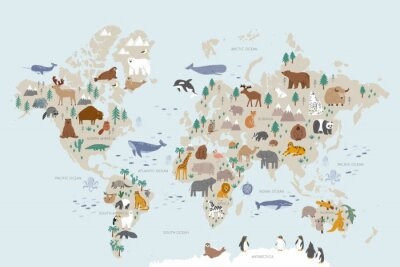 Fototapeta Animals world map for kids. Poster with cute vector animals in flat style. Cartoon doodle characters in scandinavian style for children