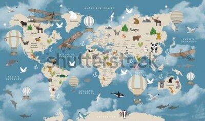 Fototapeta Animals world map for kids wallpaper design Turkish articles
