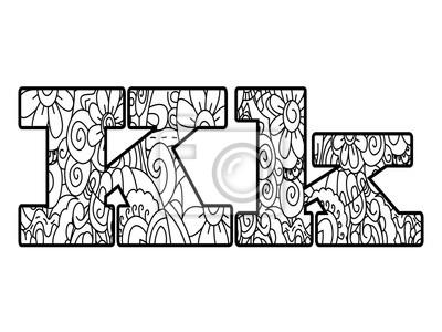 Anti Kolorowanka Alfabet Litera K Ilustracji Wektorowych Fototapeta