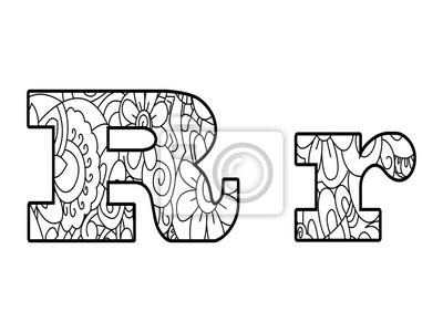 Anti Kolorowanka Alfabet Litera R Ilustracji Wektorowych Fototapeta