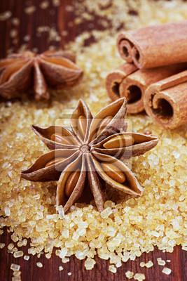 Anyż i cynamon sztyfty na brązowego cukru trzcinowego