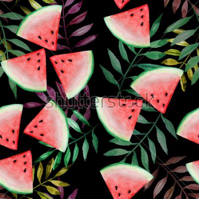 Fototapeta Arbuza plasterek z tropikalnego liścia bezszwowym wzorem na czarnym tle, akwarela obraz, projekt dla szczęśliwego wakacje letni pojęcia.
