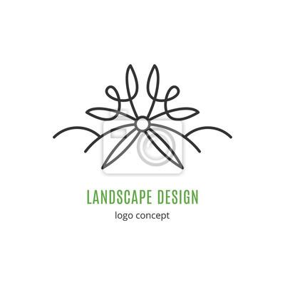 Architektura Krajobrazu Koncepcja Logo W Stylu Modnej Linii