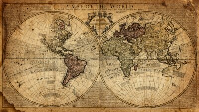 Fototapeta archiwalne mapa świata