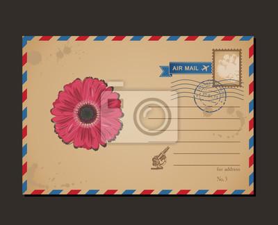 Fototapeta Archiwalne pocztówki i znaczki pocztowe. Litery flower design