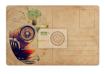 Fototapeta Archiwalne pocztówki z samochodu retro na białym tle