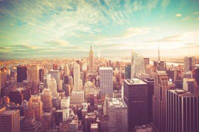Fototapeta Archiwalne tonowe Widok z New York City Skyline widokiem na Manhattan