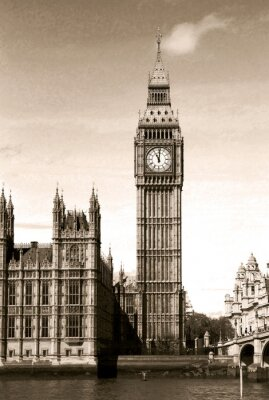 Fototapeta Archiwalne widok na zegar Big Ben w Londynie. Sepia.