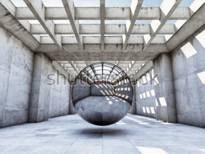 Fototapeta Art concept betonowy tunel z metalową kulką. Ilustracja 3D.