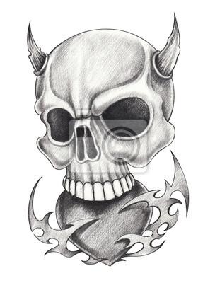 Art Devil Czaszki Tattoohand Ołówkiem Rysunek Na Papierze