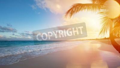Fototapeta Art Piękny wschód słońca nad tropikalnej plaży